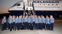 Timnas Islandia saat tiba di Gelendzhik airport jelang Piala Dunia 2018. (AFP/Jonathan Nackstrand)