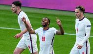 Timnas Inggris meraih kemenangan 1-0 atas Republik Ceska pada laga terakhir Grup D Euro 2020 di Stadion Wembley, Rabu (23/6/2021) dini hari WIB. Gol tunggal kemenangan Inggris dicetak Raheem Sterling. (AP Photo/Matt Dunham,Pool)