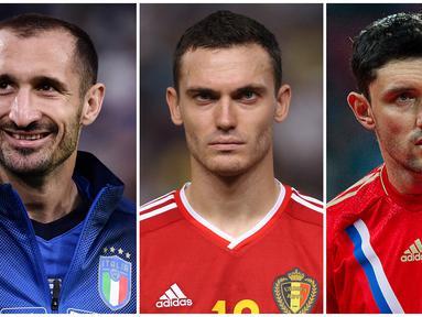 Foto kolase pemain yang terpilih dalam 5 benteng pertahanan gaek yang akan tampil di perhelatan Euro 2020 (Euro 2021). (Foto Kolase: AFP)