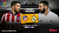 Duel Real Madrid vs Atleltico Madrid, Minggu (7/3/2021) pukul 22.15 WIB dapat disaksikan melalui platform streaming Vidio. (Dok. Vidio)
