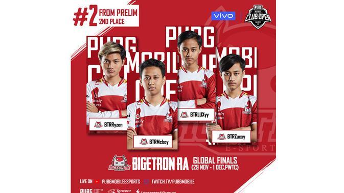 Bigetron, perwakilan Indonesia yang akan berlaga di PUBG Mobile Club Open 2019 tahapan Global Final di Kuala Lumpur, Malaysia, 29 November hingga 1 Desember 2019. (Istimewa)