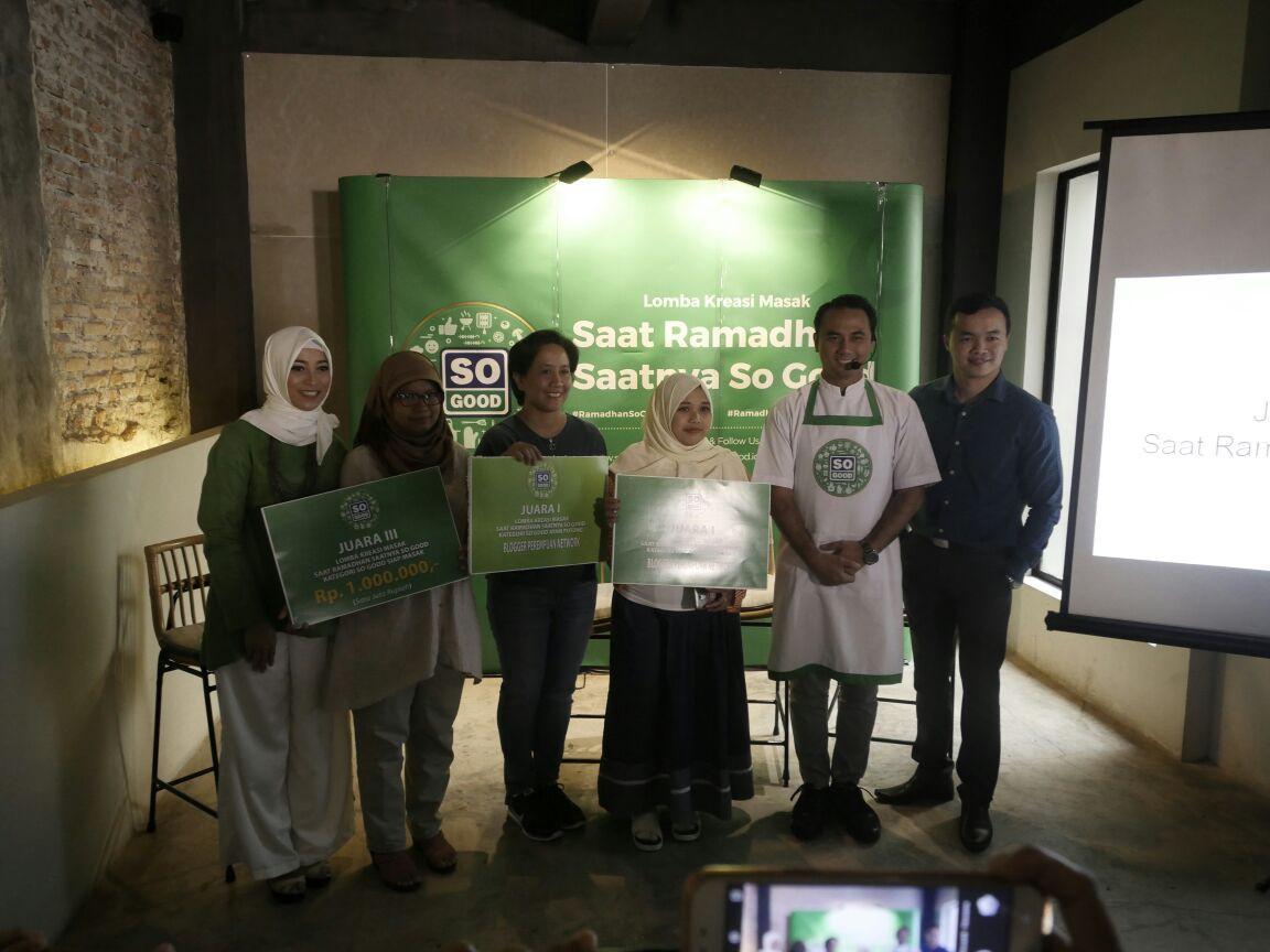 Para pemenang Lomba Masak So Good berhak menerima hadiah uang tunai serta paket produk berprotein tinggi dari So Good (Foto: Dok. So Good)