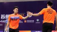Ganda putra Indonesia Leo Rolly Carnando/Daniel Marthin tampil di final Asia Junior Championships 2019. (Badminton Indonesia)
