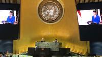 Video pidato Presiden Jokowi ditayangkan dalam Sidang Majelis Umum (SMU) PBB ke-75 pada Rabu, 23 September 2020. (Dok: PTRI New York/ DK PBB)