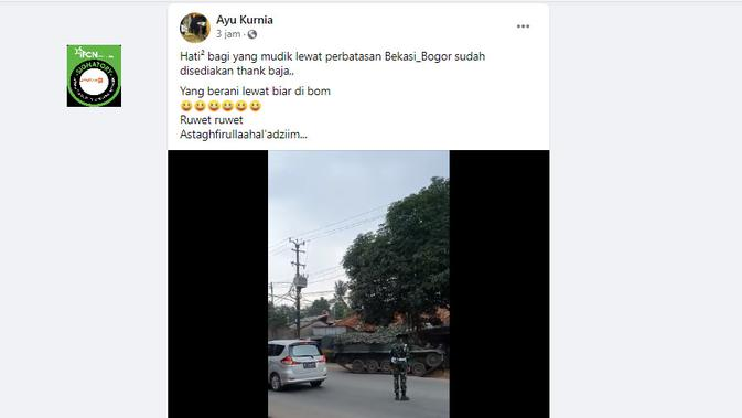 Cek Fakta Liputan6.com menelusuri klaim video tank diterjunkan untuk menyekat jalur mudik perbatasan Bekasi-Bogor