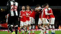 Arsenal meraih kemenangan 4-0 atas Newcastle United pada laga pekan ke-26 Premier League, di Stadion Emirates, Minggu (16/2/2020) malam WIB. (AFP/Ian Kington)
