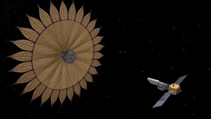 Penggambaran seniman tentang tabrakan berbentuk bunga matahari yang dapat membantu teleskop ruang angkasa menemukan dan menandai planet asing. (NASA / JPL)