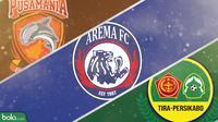 Arema FC, Borneo FC dan Tira Persikabo. (Bola.com/Dody Iryawan)