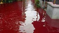 Air banjir berwarna merah, di Pekalongan. (Foto: Liputan6.co,/FB. Dudo Anak Limo)