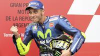 Dalam kariernya, Rossi tercatat sebagai rider dengan periode kemenangan terlama sepanjang sejarah yakni dengan 20 tahun 311 hari. Torehan tersebut membuat Rossi berada di depan Loris Capirossi dengan 17 tahun 49 hari. (Foto: AP/Nicolas Aguilera)