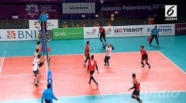 Indonesia harus mengakui keunggulan Korea Selatan dengan skor 0-3, dalam babak perempat final bola voli putra Asian Games 2018.