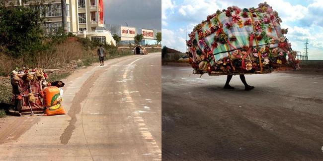 Liu selalu melakukan perjalanan tahunan dengan rumah uniknya, sampai disebut-sebut sebagai Manusia Siput. | Foto: copyright shanghaiist.com