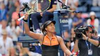 Naomi Osaka merayakan kemenangan atas Anna Blinkova pada babak pertama AS Terbuka 2019 di USTA Billie Jean King National Tennis Center, Selasa (27/8/2019) atau Rabu dini hari WIB. (AFP/Elsa)