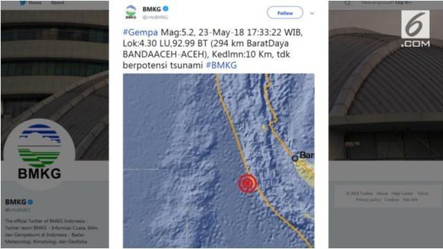 Gempa berkekuatan 5,2 skala richter mengguncang sebagian Provinsi Aceh, pukul 17.33 WIB.