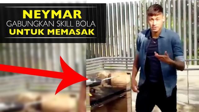 Video Neymar menggunakan skill sepak bola untuk memasak di sela libur kompetisi reguler La Liga Spanyol.