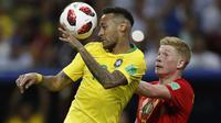 Belgia meraih kemenangan 2-1 atas Brasil dalam laga perempat final Piala Dunia 2018, di Stadion Kazan Arena, Jumat (6/7/2018) atau Sabtu dini hari WIB. (AP/Francisco Seco)