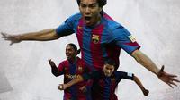 Barcelona - Giovanni van Bronckhorst, Ronaldinho, Ricardo Quaresma (Bola.com/Adreanus Titus)