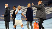 Sergio Aguero pada pertandingan Manchester City kontra Arsenal, Minggu (18/10/2020) dini hari WIB. (AFP)