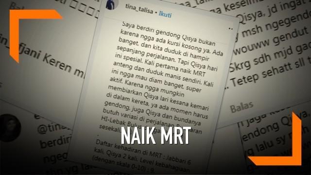 Lewat instagram, Tina Talisa membagikan pengalaman saat naik MRT bersama anak-anaknya. Saat itu, Tina tengah berdiri sambil menggendong anaknya di MRT.
