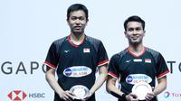 Ganda putra Indonesia, Mohammad Ahsan/Hendra Setiawan, gagal meraih gelar di Singapura Terbuka 2019 setelah kalah dari wakil Jepang, Takeshi Kamura/Keigo Sonoda. (dok. PBSI)