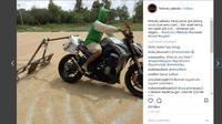 Aksi Pemuda Keringkan Gabah Pakai Motor Gede Mahal (Instagram @ferboes_saiisoku)