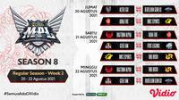 Link Live Streaming Pertandingan MPL Season 8 Pekan Kedua di Vidio, 20-22 Agustus 2021. (Sumber : dok. vidio.com)