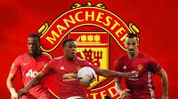 Manchester United - Patrice Evra, Antony Martial, Zlatan Ibrahimovic (Bola.com/Adreanus Titus)