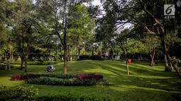 Suasana Taman Tabebuya, Jagakarsa, Jakarta, Kamis (14/3). Dinas Kehutanan DKI Jakarta menganggarkan Rp 130 miliar untuk membangun 53 Taman Maju Bersama (TMB) di tahun 2019. (Liputan6.com/Faizal Fanani)