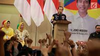 Calon Presiden nomor 01 Joko Widodo (Jokowi) memberikan sambutan saat menghadiri acara silaturahmi dengan relawan dan Tim Kampanye Daerah di Gorontalo, Kamis (28/2). (Liputan6.com/Arfandi Ibrahim)