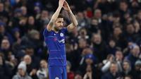 Cesc Fabregas menjalani laga terakhirnya bersama Chelsea saat menghadapi Nottingham Forest pada babak ketiga Piala FA, di Stamford Bridge, Sabtu (5/1/2019). (AP Photo/Alastair Grant)