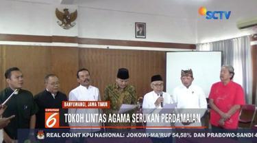 Tokoh lintas agama di Banyuwangi, Jawa Timur, menggelar deklarasi damai usai Pemilu 2019.