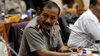 Kapolri Jenderal Badrodin Haiti saat mengikuti Rapat Kerja dengan Komisi III DPR RI di Kompleks Parlemen, Jakarta, Senin (25/1). (Liputan6.com/Johan Tallo)