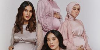 The Bumils baru saja menggelar foto maternity bersama, tampak cantik dan glowing, keempatnya bikin netizen terpana.  (foto: Instagram/ Marlene Hariman).