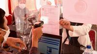 Peserta Tes SKD CPNS 2021 Kementerian Koordinator Bidang Kemaritiman dan Investasi di Secaba Rindam III Siliwangi, Bandung, Jawa Barat pada Kamis, 30 September 2021.