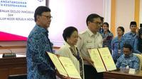 Kemendagri dan BPIP menandatangani Nota Kesepahaman untuk mendukung pelaksanaan pembinaan ideologi Pancasila. (Liputan6.com/ Ratu Annisaa)