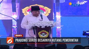 Dalam pidatonya, Prabowo menyoroti banyaknya hutang pemerintah Indonesia.