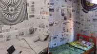 Potret estetik kamar dengan dinding koran. (Sumber: Twitter/@aismeler/ghalihprayoga_)
