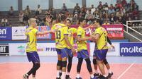 Indomaret Sidoarjo mengalahkan TNI AL 3-1 (25-19,25-21, 22-25, 25-13) pada pertandingan Grup  B Livoli Divisi Utama 2019 di GOR Dimyati, Tangerang, Senin (14/9/2019). (PBVSI)