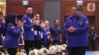 Ketum Partai Demokrat Susilo Bambang Yudhoyono tiba menghadiri Kongres ke V Partai Demokrat di JCC, Jakarta, Minggu (15/3/2020). SBY akan digantikan Agus Harimurti Yudhoyono (AHY) yang telah mendapatkan dukungan 93 persen dari pemegang hak suara Demokrat. (Liputan6.com/Angga Yuniar)