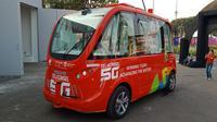 Bus nirsopir Telkomsel di arena Asian Games 2018. (Arief/Liputan6.com)