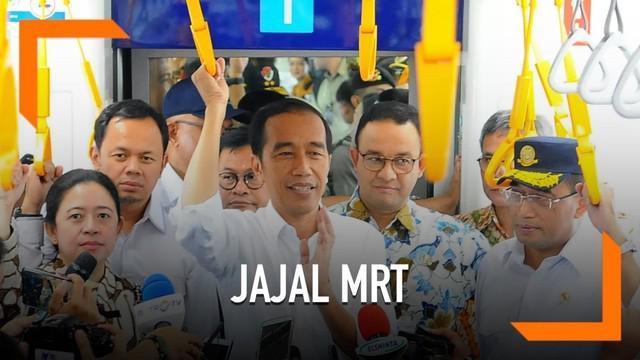 Presiden Jokowi beserta menteri Kabinet Kerja dan Gubernur DKI menjajal MRT Jakarta. Jokowi senang masyarakat antusias menyambut kehadiran MRT.