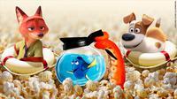 Tiga film animasi terlaris di dunia sepanjang 2016: Finding Dory, Zootopia, The Secret Life of Pets. (Pizar / Disney / Universal / CNN Money)