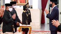 Penobatan gelar Pahlawan Nasional 2020 untuk Machmud Singgirei Rumagesan di Istana Negara (Liputan6.com/Dok. Pribadi Arif Rumagesan)