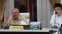 Gubernur Sumsel Alex Noerdin menegaskan bahwa kasus pengrusakan rumah ibadah umat Katholik di Kabupaten Ogan Ilir murni tindakan kriminal (Liputan6.com / Nefri Inge)