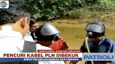 Empat orang pria pelaku pencurian kabel PLN di Sungai Musi, diamankan di Polsek Mariana.