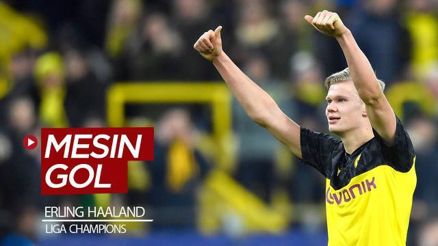 Berita video striker Borussia Dortmund, Erling Haaland, yang menjadi mesin gol di Liga Champions 2019-2020.