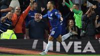Eden Hazard mengantarkan Chelsea meraih kemenangan atas Liverpool pada laga babak ketiga Piala Liga Inggris (26/9/2018). (AFP/Paul Ellis)