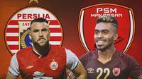 Piala Menpora - Duel Penyerang Persija Jakarta Vs PSM Makassar (Bola.com/Adreanus Titus)