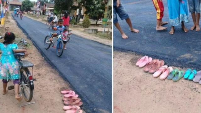 Bahagia Aspal Masuk Desa, Bocah Lepas Sandal Main di Atasnya Buat Warganet Terenyuh