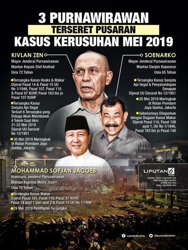Infografis 3 Purnawirawan Terseret Pusaran Kasus Kerusuhan Mei 2019. (Liputan6.com/Triyasni)
